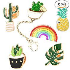 Cute Enamel Lapel Pin Set - 6pcs Cartoon Brooch Pin Badges for Clothes Bags Backpacks - Rainbow Cactus Succulent Leaves Pineapple