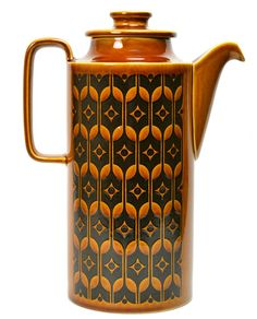 Tall Ceramic Modernist Coffee Pot with Molded Geometric Decor by Hornsea, Vintage English, 1970s
