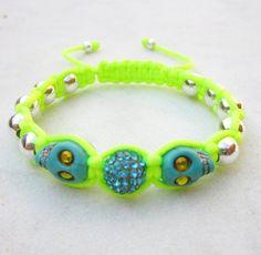 Neon friendship bracelet blue skulls bracelet by pieceofART, $20.00
