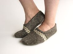 Hand Knitted Patterned Slippers  Winter Home Comfort  by milleta on Etsy www.etsy.com/shop/milleta