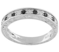 As Is AffinityDiamond Sterling 1/3ct tw Engraved Stack Ring