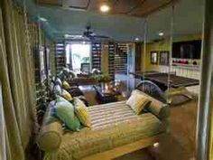 Playroom in garage. Love the swinging day bed!