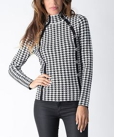 Look what I found on #zulily! Black & Ivory Houndstooth Turtleneck by Yuka Paris #zulilyfinds