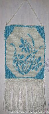 My Fancywork Blog: Панно с голубыми цветами в технике кавандоли.