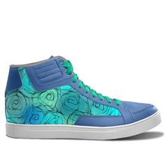 Romantic roses in shades of blue, turquoise and green. Inspired by the Magic Island of Gotland, designed by Åsa Stenström, magicisland.se  idxshoes.com - Streetwear Sneakers