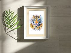 #TigerHead #WatercolorAnimals #BigCats #InstantDownload #Etsy Watercolor Tiger, Watercolor Paintings Of Animals, Portrait Wall, Pet Portraits, Tiger Poster, Tiger Face, Cat Decor, Shopping Mall, Happy Shopping