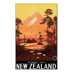 Vintage Mount Egmont New Zealand Travel Poster