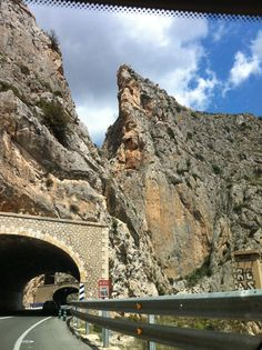 Driving into Calp, Spain.