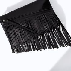 ZARA - WOMAN - LEATHER CLUTCH WITH FRINGES