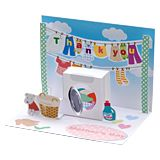 Laundry pop up card. Click on link for freebie. http://paperm.jp/craft/hagaki/popup/parent/index.html