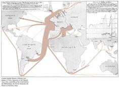 Charles Joseph Minard's visualisation of 1864 exports of French wine Big Data Visualization, Creative Visualization, Sankey Diagram, Flow Map, Joseph, History Of Wine, Map Layout, French Wine, Information Design