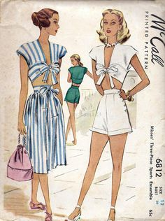 Vintage 1947 Tie Front Playsuit & Skirt by sydcam123 on Etsy, $65.00