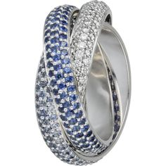 Amazing platinum trinity rings with Sapphire diamonds will shine on your hand like the moon itselfThis trin ity ring is on the new collection by Cartier and is real art of a ring.