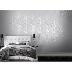I Love Wallpaper™ Shimmer Tree Soft Grey /  Silver