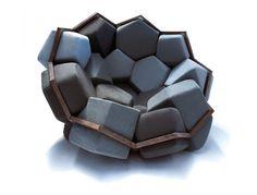 とってもすわり心地の良さそうな、カクカクしたソファー。サッカーボールを切ったような形。(via CTRLZAK)