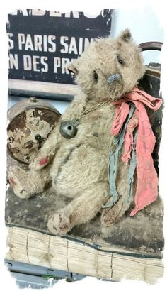 "Image of Old Beatup & Worn - 11"" Mohair Tan Bear with antique sleigh bell- By Whendi's Bears"