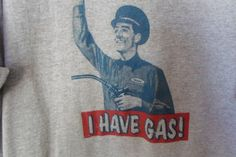 Funny tee shirt L attendant with gas pump says I have gas name tag stinky #Gildanactivewear