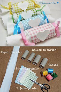Cucuruchos para chuches con tubos de cartón reciclado