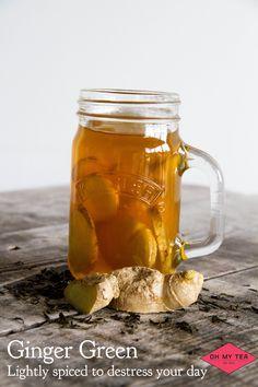 Ginger Green. Verse superior jasmijn tea, getrokken met verse gember.