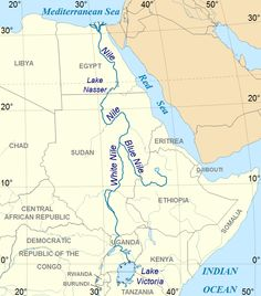 The Nile River is the longest river in the world. It stretches threw Egypt, Sudan and Kenya. It stretches miles and emptys into the meterain sea. Egypt Map, Red Lake, Nile River, World Geography, History Online, African History, African Culture, Giza, Tanzania