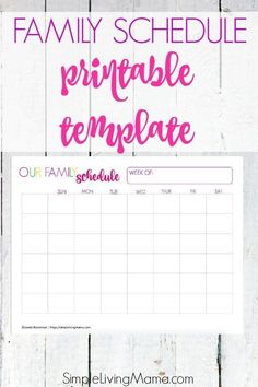 Use The Family Schedule Printable Template To Keep Track Of Your S Busy Life This