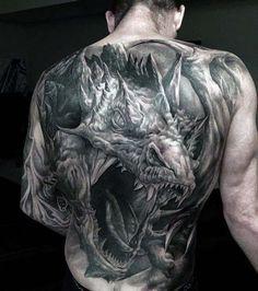 60 Dragon Back Tattoo Designs For Men                                                                                                                                                     Mais
