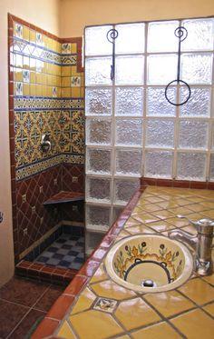 Bathroom shower using mexican tiles by kristiblackdesigns - Azulejos rusticos cocina ...