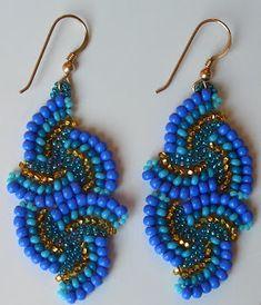 Jubeads box: 22.6.08 Blue & Gold Pinwheel Earrings for Lior