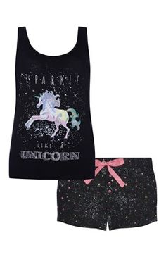 Sparkle Unicorn Vest And Short PJ Set