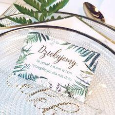 Przepiękne bardzo eleganckie bileciki zdobione złotymi literami to ekskluzywny dodatek na wesele! #kolekcjaslubne #slub #wesele #dekoracjeslubne #podziekowaniadlagosci #botanica Tableware, Dinnerware, Tablewares, Dishes, Place Settings