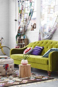 Ava Velvet Tufted Sleeper Sofa and Magical Thinking Patchwork Curtain