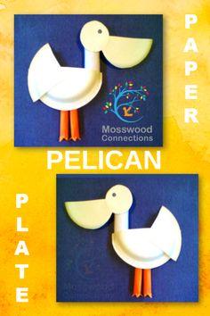 An adorable Pelican Paper Plate Craft. Valentine Crafts For Kids, Animal Crafts For Kids, Valentines Day Activities, Craft Activities, Preschool Crafts, Diy Crafts For Kids, Projects For Kids, Easy Crafts, Art Projects