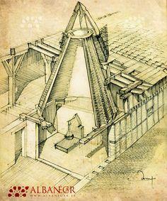Esquema constructivo de una casa pinariega, con la cocina y la chimenea encestada. © Albanécar
