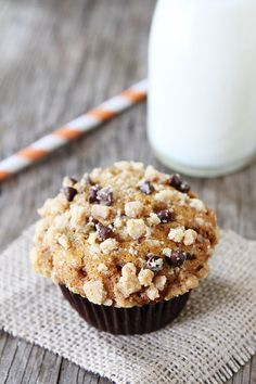 Pumpkin Toffee Chocolate Chip Muffins on twopeasandtheirpod.com  #recipe