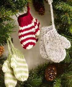 Knit Mitten Ornaments Make this free knitting pattern as a cute decoration for your tree or as gifts. The Knit Mitten Ornaments from Red Heart Yarn are soft and precious, adding a light touch to your Christmas tree. Knit Christmas Ornaments, Crochet Christmas Decorations, Holiday Crochet, Handmade Christmas, Tree Decorations, Christmas Stocking, Christmas Colors, Christmas Christmas, Crochet Christmas Trees