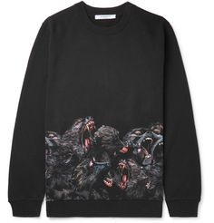GIVENCHY Printed Fleece-Back Cotton-Jersey Sweatshirt. #givenchy #cloth #sweats