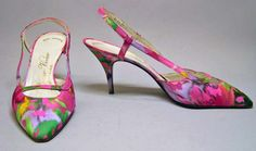 Shoes by Roger Vivier to match heavily beaded silk  Sheath dress