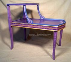 SOLD sample of CUSTOM WORK Two Tier Purple Side Table Custom