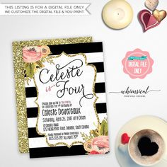 """Birthday Tea Invitation """"Black and White Striped Floral"""" (Printable File Only) Child Birthday Black White Stripes Gold Faux-Glitter Flowers"""