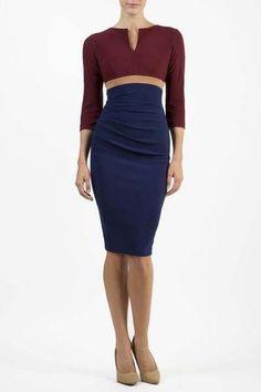 da10fee0195ea6 DIVA Colour Block jurk 3 4 mouw model NADIA met opvallende rits op de rug