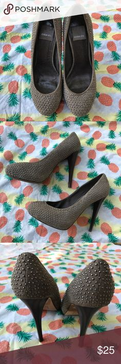 Gray Suede Silver Studded Round Toe Heels Lightly Used | Great Condition | Normal Signs of Wear | Gray Suede Texture | Silver Studs | Round Toe | Dark Wood Stiletto Heels | Wear on the Bottoms | Heel Height: 4.5ins | Dolce Vita Shoes Heels