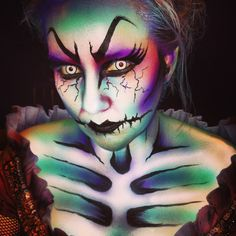 Cool rainbow skeleton makeup