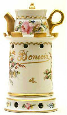 """Teapot #434  Cylindrical, thin porcelain, white background, many floral decorations, pink roses on one side,   purple tulip and """"Bon Soir"""" on the other, conforming pot, short spout. Signed Terrier 1849"""