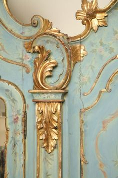1stdibs | 19th Century Venetian Painted Armoire.  No instructions on this one, just some really good inspiration.  I want to paint some baroque frames in this color.