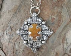 Silver and Marquis Cut Hessonite Garnet with by coldfeetjewelry