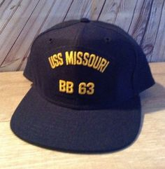 Vintage USS MISSOURI BB 63 Mighty MO US NAVY Snapback Cap Military Hat NOS   NewEraDupontVisor 818a24d9e940