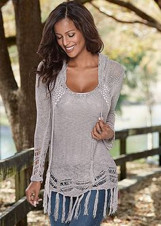 %PC% Hooded fringe sweater, cami from VENUS