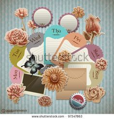 Vector Retro Scrapbook Element For Gardening Diary - 97347863 : Shutterstock