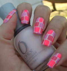 Pink Panels Nail Art