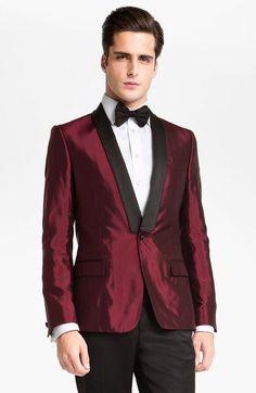 Latest Coat Pant Designs Burgundy Satin Men Suit Slim Fit 2 Piece Tuxedo Custom Prom Style Suits  Groom Prom Blazer Masculino